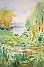 -aquarelle originale, femme lavant son linge près d'une rivière, XX° Siècle