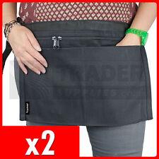 2 x 4 Pocket BLACK Market Trader Money Bag Cash Belt