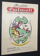 PROTEGE-CAHIER 1950-1960 PASTILLE PULMOLL FABLES DE LA FONTAINE LIEVRE TORTUE