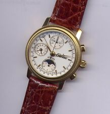 NEW MAN WATCH CHRONO AUTOMATIC MOON PHASE SWISS MADE GOLD 750 18K PERSEO VINTAGE