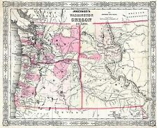 Mappa antica 1864 Johnson Washington Idaho OREGON REPLICA poster stampa pam1824