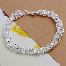 Bracelet Sterling Silver Plated Stylish Chunky 925 Multi Chain Women Fashion