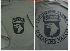 101st AIRBORNE Screaming Eagles T-Shirt LARGE Ultra Cotton Military Green