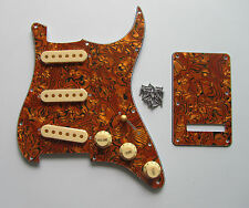 Tiger Pattern Strat Pickguard,Trem Cover w/ Cream Pickup Covers,Knobs,Switch Tip