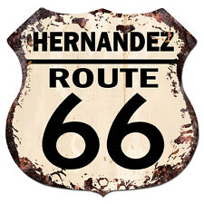 BPHR0015 HERNANDEZ ROUTE 66 Shield Rustic Chic Sign  MAN CAVE Funny Decor Gift