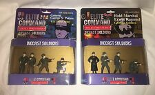 """Elite Command Diecast Soldiers """"Gen. Patton"""" and """"Erwin Rommel"""" 2 Packages NIB"""