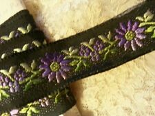 Per 1 Yard Vintage Silk Brocade Ribbon Black Purple Daisies Dolls Crafters
