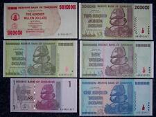 6 x ZIMBABWE 1 $ - 100 TRILLION BANKNOTE HYPERINFLATION