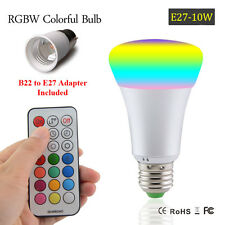 E27 10W RGB+White LED Bulb Timer Remote & B22 to E27 Adapter (Battery Included)