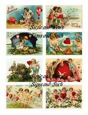 Valentine Stickers Vintage Postcard Reproductions Cupids Hearts Victorian