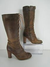 Frye Villager Lace Leather Brown Lace Up Mid Calf Boots Brown R-Sz 6.5 L-Sz 6