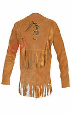 Men's Suede Western Cowboy Leather Shirt with Fringe All Color & Sizes Av