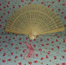 VINTAGE CELLULOID FOLDING HAND FAN CREAM WITH LACE CUTOUT PATTERN AND TASSEL