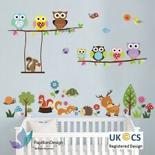Woodland animal Owl squirrel Tree bird nursery Kid Baby wall Decal Sticker  Deco