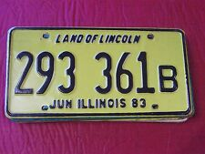 293 361 B= 1983 Illinois License Plate    MAX $4.00 Shipping 1-100 In The US