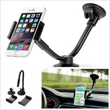 Black Long Arm Car SUV Windshield Dashboard Smartphone Mount Holder Bracket Kit