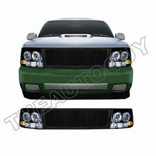 1999 2000 2001 2002 CHEVROLET SILVERADO BLACK GRILL HEAD LIGHT CONVERSION KIT