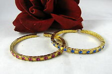 Colorful Rhinestone Gold tone Cuff Bracelet Lot Set FERAL CAT RESCUE
