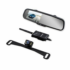 Easy Install Wireless Rear View Mirror Monitor Night Vision License Plate Camera