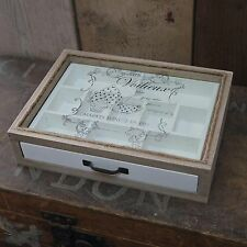 Vintage French White & Natural Wood Tea / Trinket Storage Box Glass Lid & Drawer