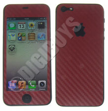 Carbon Fiber Vinyl Sticker Kit Cover Wrap for Apple iPhone 5 / 5S - Red
