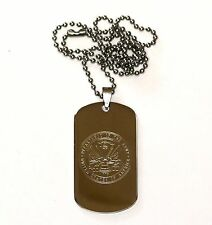 "NEW STAINLESS STEEL  2""x1-1/8"" dog tags 19"" beaded necklace CUSTOM ENGRAVED FREE"
