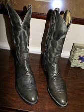 "VTG TONY LAMA Style 8988 SMOOTH GRAY OSTRICH 13"" Shaft Boots Size 9 D"