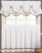 """Kate Elegance Kitchen Curtain Tier Pair (57"""" x 36"""") White with Color Trim Taupe"""