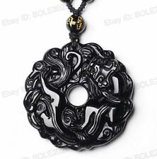 Pretty 100% Natural Black Obsidian Carved Dragon Lucky Amulet Pendant + Necklace