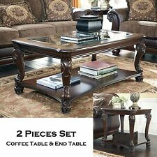 HAMPTON - 2pcs Old World Rectangular Cocktail Coffee End Occasional Tables Set