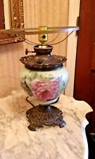 "'GONE WITH THE WIND"" VICTORIAN OIL LAMP BASE~ELECTRIC~""SUCCESS"" ~Hand Paint~RAYO"