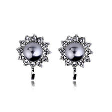18K WHITE GOLD PLATED GENUINEAUSTRIAN CRYSTAL AND PEARL CLIP-ON  EARRINGS