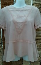 M&S LIMITED EDITION BNWT Pink Short Sleeve Peplum Blouse Size 6