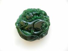 Large Carved Oriental Dragon Jade Stone Pendant