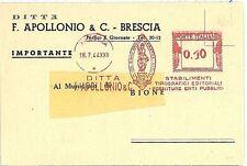 ITALIA  - CARTOLINA PUBBLICITARIA con AFFRANCATURA MECCANICA ROSSA: BRESCIA