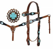 Showman Headstall & Breastcollar Set with Turquoise Stone Cross Conchos NEW TACK