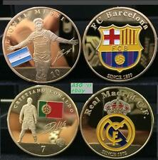 2x Messi Ronaldo Football Super Stars 24K Gold Plated 2/Sided  Souvenir Coin set