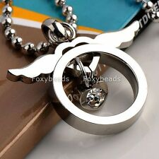 Stainless Steel Love Heart Crystal Silvery Angle Wing Pendant Fit Necklace 19''L