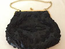 Vintage Black Seed Bead Gold Cain & Clasp Satin Lining Purse Small Evening Bag