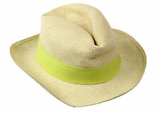 J Crew Panama Hat With Contrast Ribbon Style# A8370 $58 Sz M-L Lime Green Def