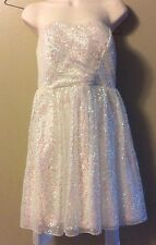 Ruby Rox White Pink Iridescent Sequin Mesh Strapless Party Cocktail Dress Sz 9