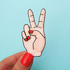 Peace Sign Hand Iron On Patch DIY Sewing On Embroidered Applique Craft New