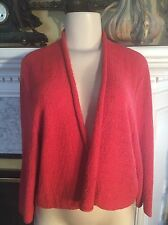 Eileen Fisher XL Red Shawl Collar Open Front Sweater Cardigan Light 100%Wool