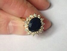 9 Ct Yellow gold Large blue Sapphire & Diamond  ring, not scrap, g con