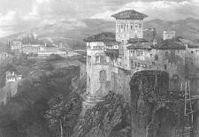 Spain, ALHAMBRA Palace Fortress ~ Antique 1835 DAVID ROBERTS Art Print Engraving