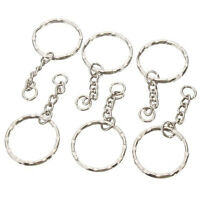 10  50pcs 25mm Keyring Blanks Silver Tone Key Chains Findings Split Rings 4 Link