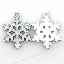 20pcs Charms Christmas Snowflakes Enamel Alloy Pendant Fits Jewelry Necklace J