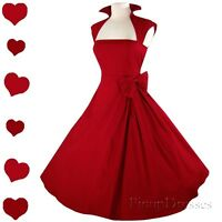 New Red 50s Retro Full Skirt Rockabilly Pinup Swing Dress Bridesmaid Party S M L