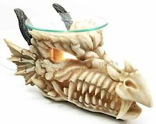 Grinning Dragon Fossil Skull Electric Oil Burner Tart Warmer Aroma Scent Statue