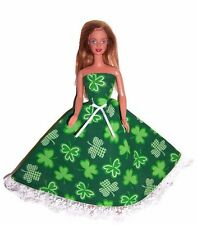 Barbie Doll Clothes-White/Green Shamrock Print Strapless Dress